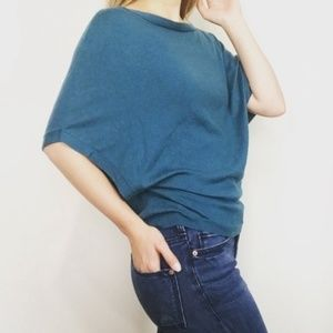 Joie Teal Knit Kimono Sleeve Top